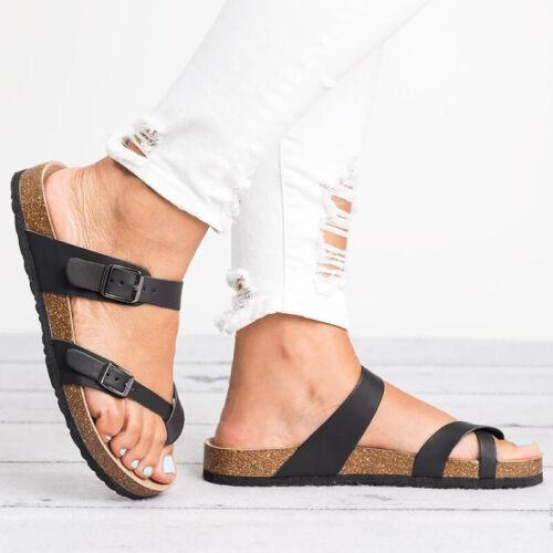 Women Slide Buckle Summer T-Strap Cork Footbed Platform Flip Flops Shoes Sandals