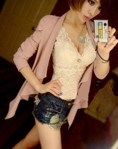 Nouveau Femmes Dentelle Gilet Crochet Maille Hauts Vest T-shirt Taille One Size