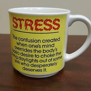 Funny True Definition Of Stress Yellow Coffee Mug Work Job ...