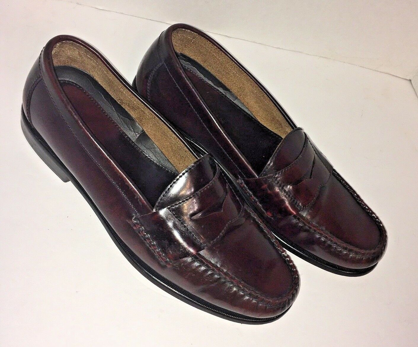 BOSTONIAN Dark Brown Burgundy Leather Penny Loafers Made in Brazil Men 9.5 D