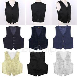 Boys-Kids-Gentleman-Vest-Waistcoat-Wedding-Party-Formal-Suit-Birthday-Tuxedo
