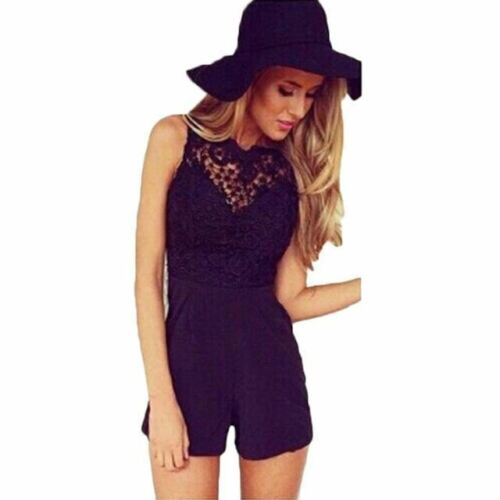 Women Summer Sleeveless Flower Lace Solid Halter Black Jumpsuits
