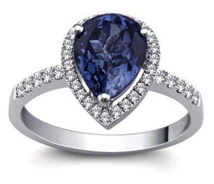 Created bluee Sapphire Pears Stone Solitaire Ring With Pave Set Sterling Size 7