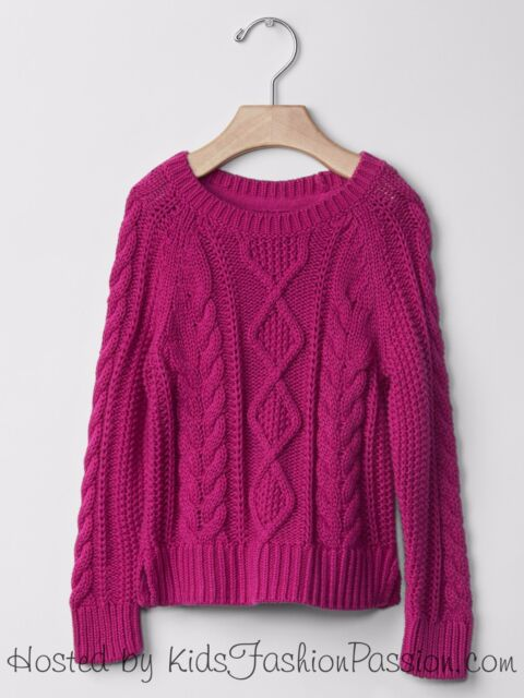 022518e7ed4 Baby GAP Girls Cable Knit Raglan Sweater Pullover Fuchsia Pink 4T 4 NWT  35