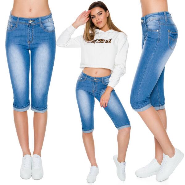 100% Vero Donna Capri Jeans Pantaloni Imitazione Vita Media Elasticizzato 3/4 Fs89051 Rinfresco