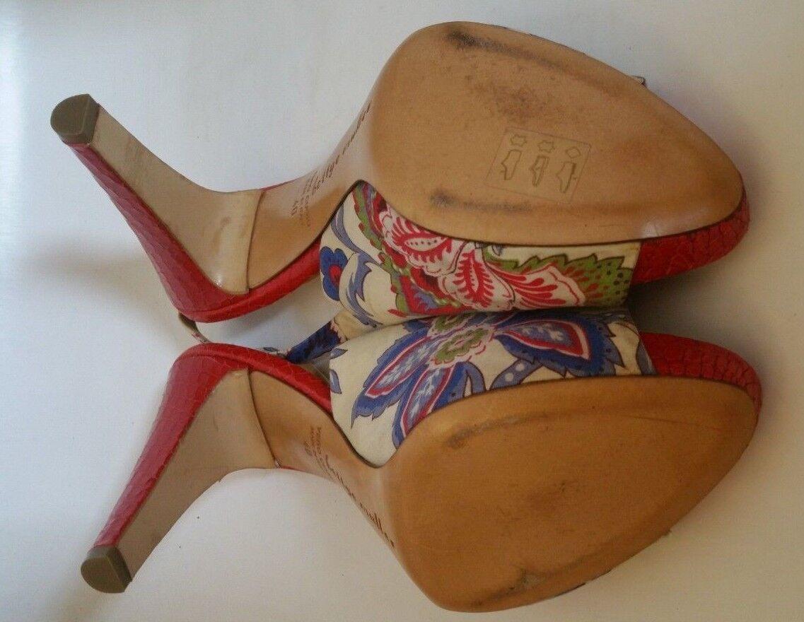 BETTYE MULLER rot croc heels heels heels floral pattern open toe sling back schuhe 40  40dfe1