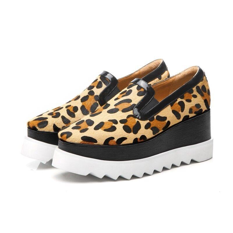 femmes Fashion Horse Hair Platform Platform Platform chaussures Leopard Print Wedge High Heels Creeper 421568