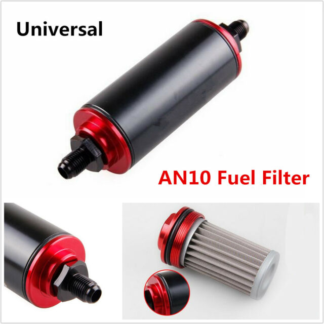 Car Truck AN10 100 Micron Black Aluminum High Flow Fuel Inline Petrol Filter Kit