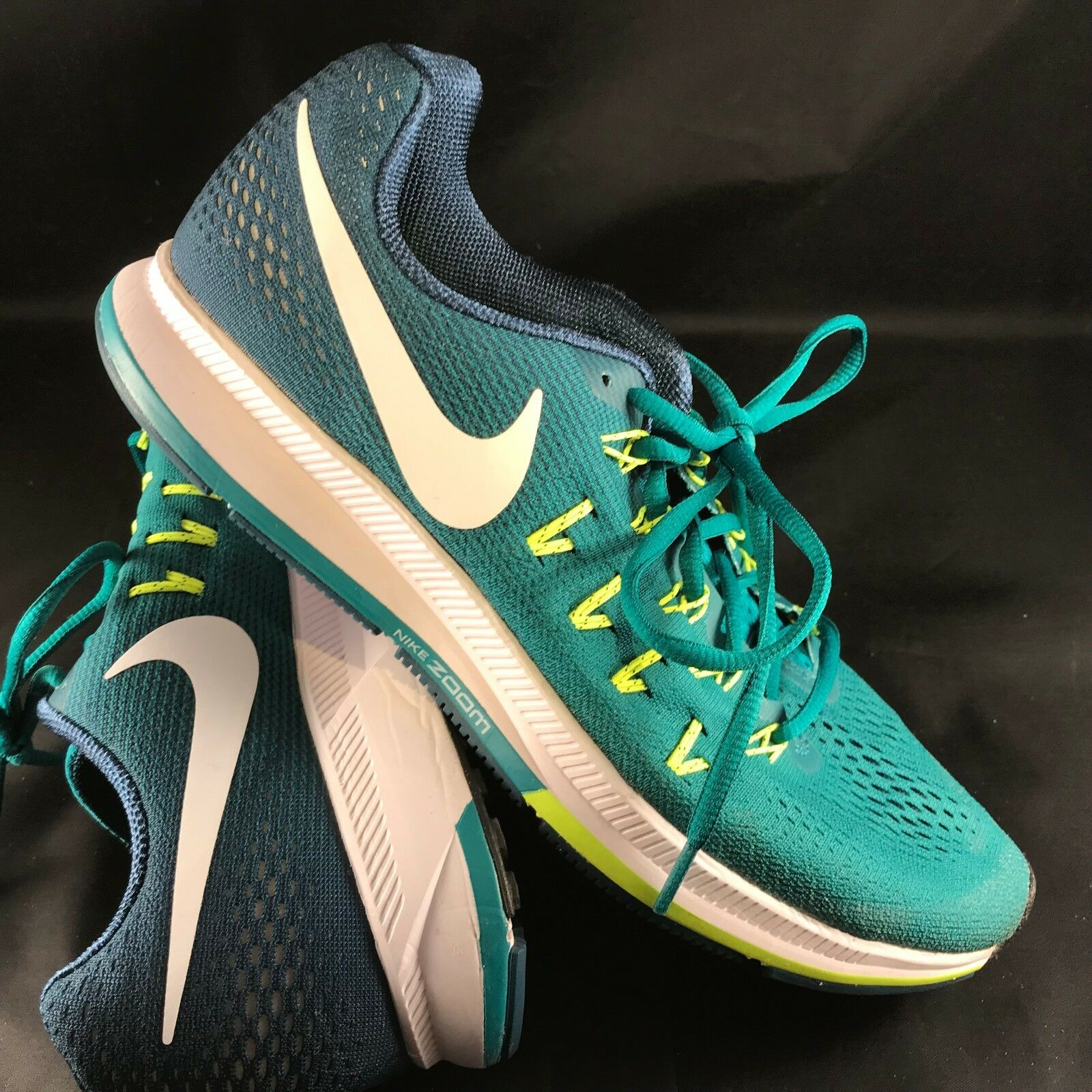 Nike Luft Zoom Pegasus 33 Schwarzes Herren 10.5 Laufen 831352 313 Blaugrün,Blau