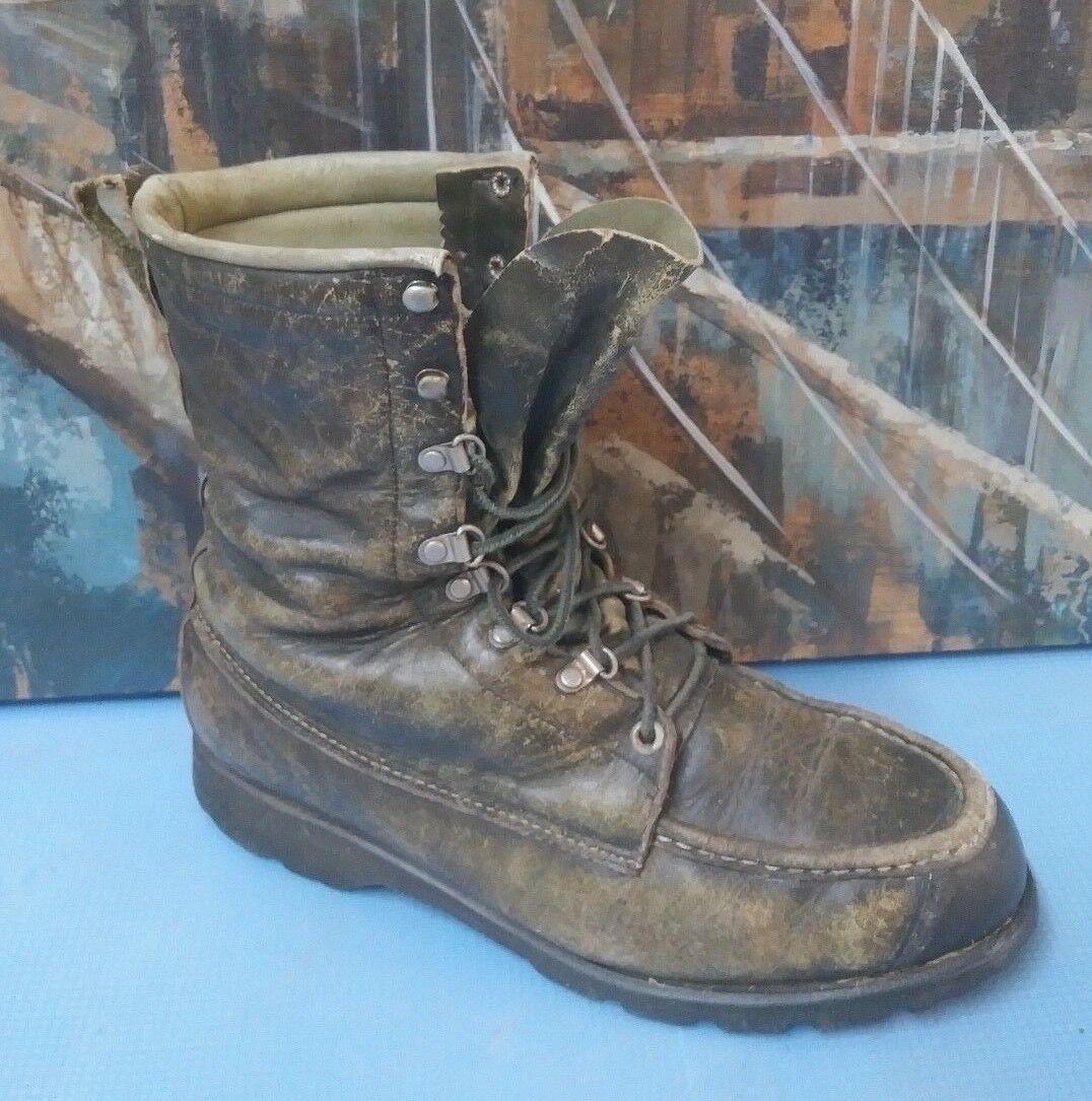 Raro  Vintage Ted Williams 30170 gris Cuero Caza botas De Trabajo-Talla para Hombre 8 D