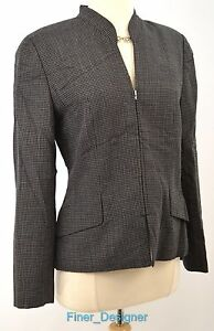 W Worth New York blazer light jacket lined suit coat crop zip tweedy 4 NEW $588