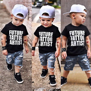 Toddler Kids Baby Boys Clothes Casual Tops T-Shirt Ripped Denim ... 79f110f24b