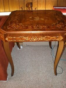 Image Is Loading VINTAGE ITALIAN INLAID WOOD MARQUETRY CARD TABLE ROULETTE