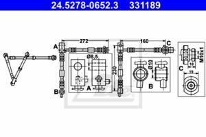Bremsschlauch für Bremsanlage Vorderachse ATE 24.5278-0652.3