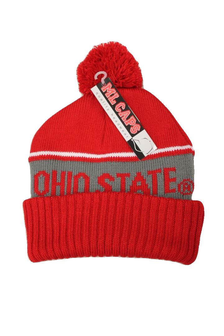 Cozy red Ohio state beanie with pom pom