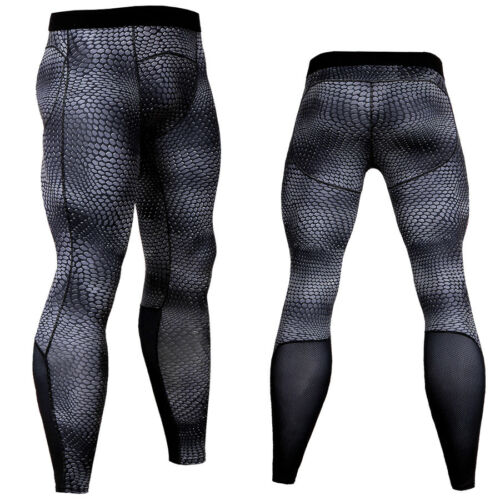 Mens Workout Tights Skin Compression Long Pants Gym Sports Fitness Base Layer