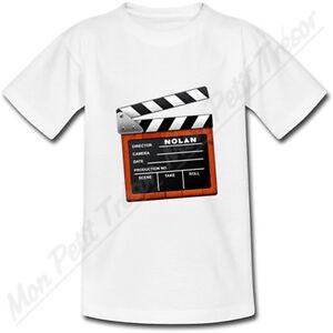 T-shirt-Enfant-Clap-de-Cinema-avec-Prenom-Personnalise