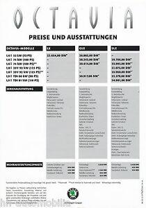 Ernst Skoda Octavia Preisliste 1998 1.4.98 Price List Autopreisliste Prijslijst Auto Sammeln & Seltenes Kataloge & Prospekte