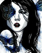 Gothic portrait of woman with blue butterflies FANTASY ART ebsq 8x10