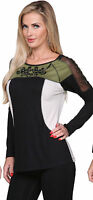 Krista Lee Urban Jungle Color Blocked Top Embroidered Beaded Black Green Beige