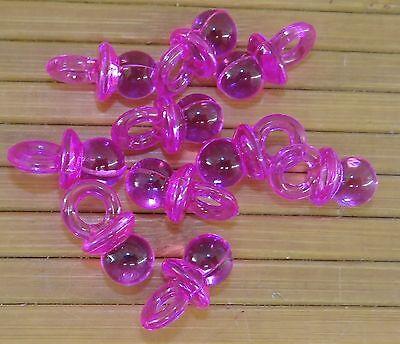 LOT de 10 breloques tétine totoche en plastique couleur rose translucide