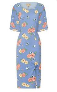 Nuevo-Lindy-Bop-Talla-12-Azul-Floral-Vestido-De-Abeja-Rockabilly-Wiggle-Vintage-40s-50s