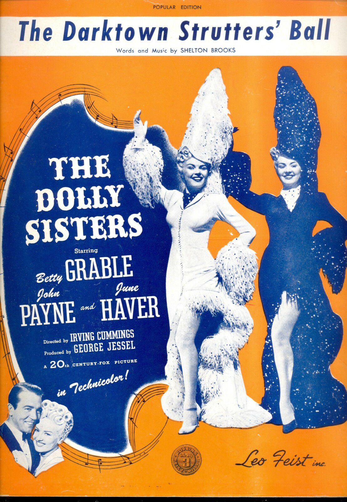 DOLLY SISTERS Sheet Music  Darktown Strutters' Ball  Betty Grable June Haver