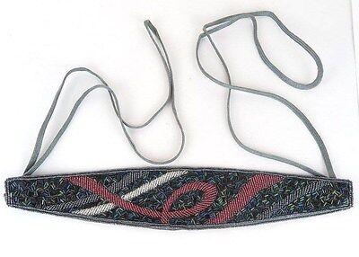 "Women's Beads Handmade Belt Black Red Gray 14"" New"