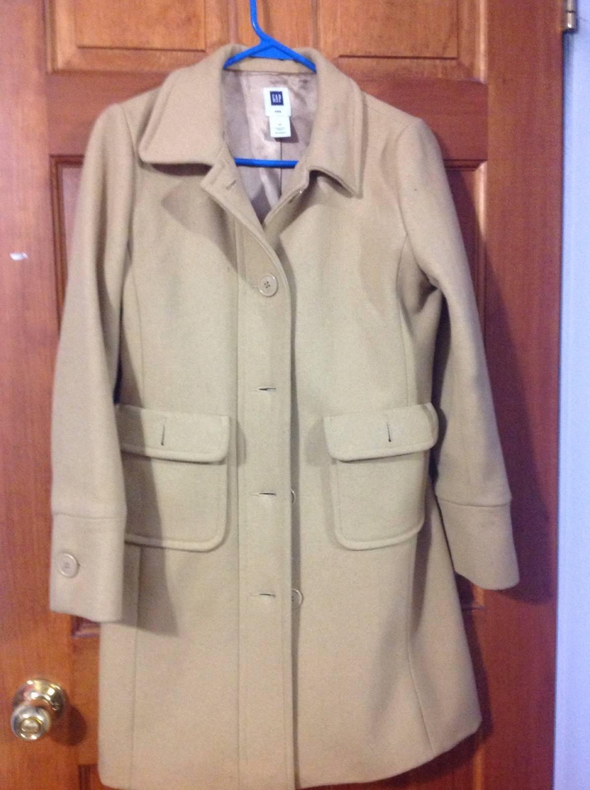 Women's GAP long wool brown peacoat coat XS