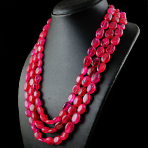 815-50-Cts-Earth-Mined-3-Strand-Red-Ruby-Oval-Shape-Beads-Handmade-Necklace