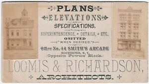 RARE-Advertising-Real-Photo-Trade-Card-Loomis-Architects-Rochester-NY-1880