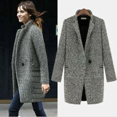 Women Lapel Wool Cashmere Long Windbreaker Parka Coat Trench Outwear Jacket 6-14