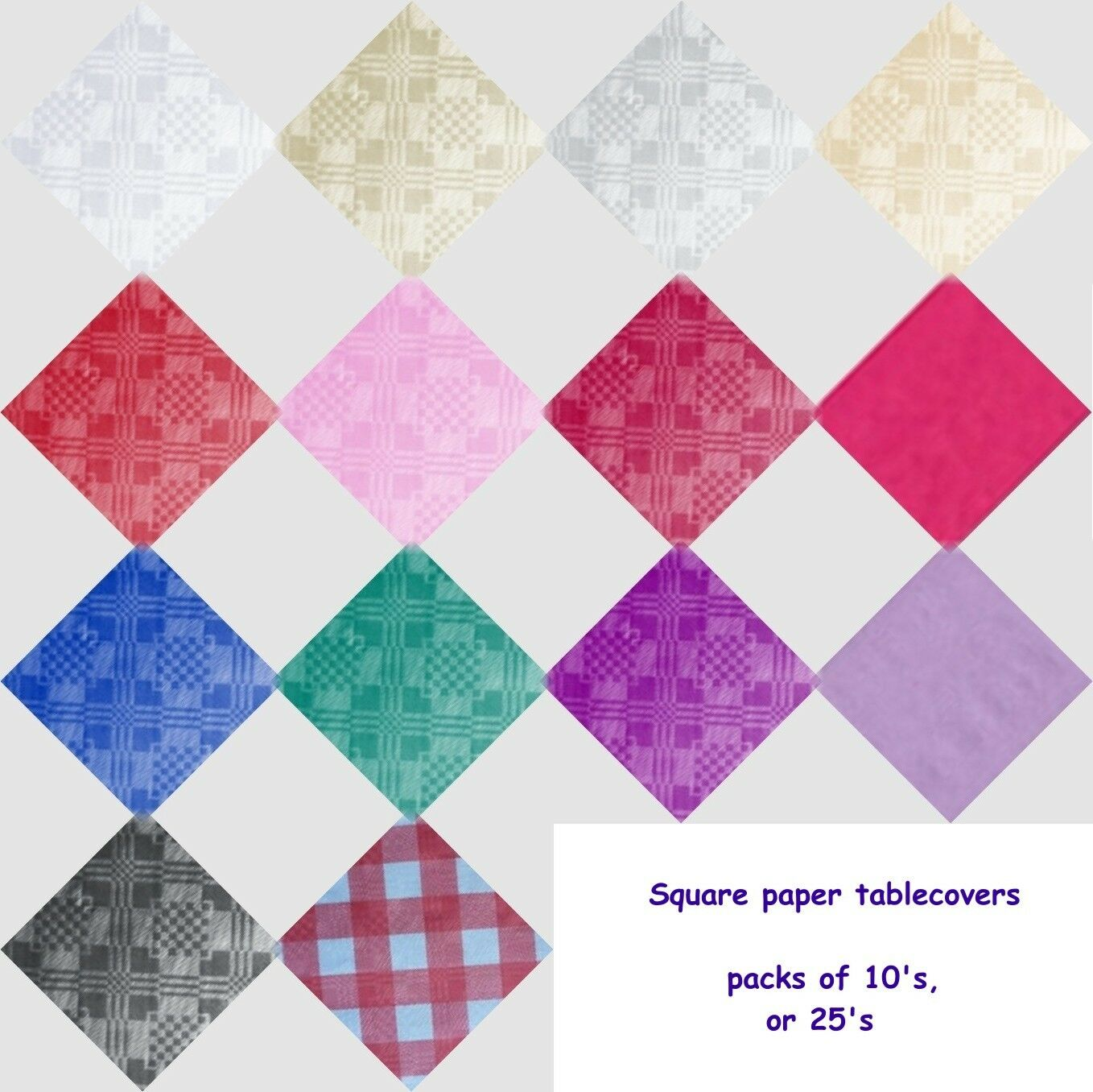 SQUARE PAPER TABLECOVERS , TABLE COVERS , CLOTHS PK 5, 10, 15, 20, 25 OR 50