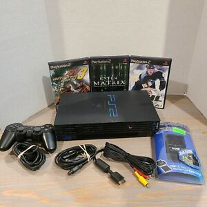 Sony-PS2-Fat-Playstation-2-NEW-Memory-Card-Controller-amp-3-Games-Tested-Works