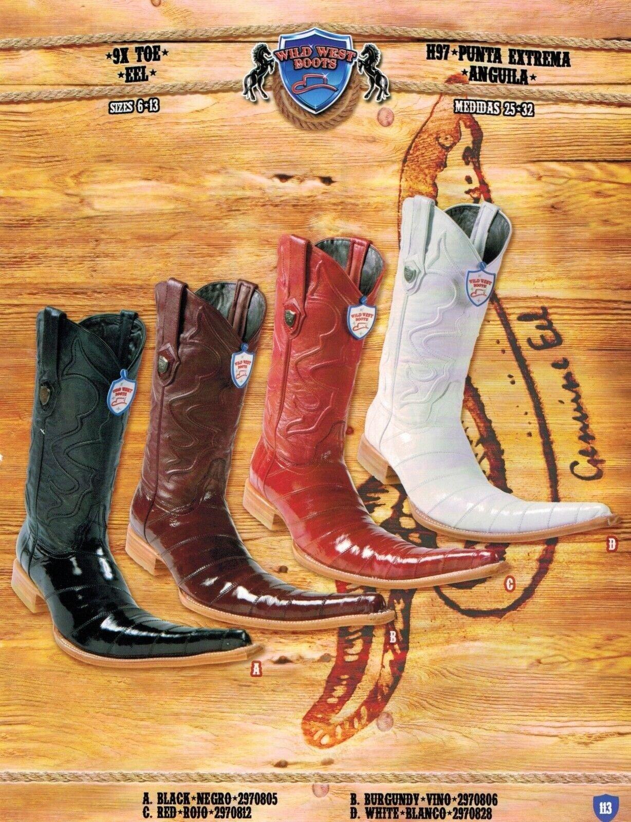 Senza tasse Wild Wild Wild West Uomo 9X-Toe Eel Cowboy Western stivali Different Colores  vendite online