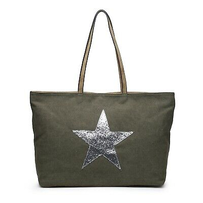 Large Pale Blue Bag Silver Star Canvas Bags Ladies Holiday Beach Work Gym Zip