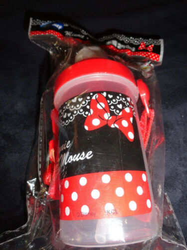 Disney Mickey Minnie Mouse Water Beverage Bottle With Strap Straw