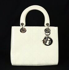 DIOR Ivory White Cannage Quilted Patent Medium LADY DIOR Tote Bag