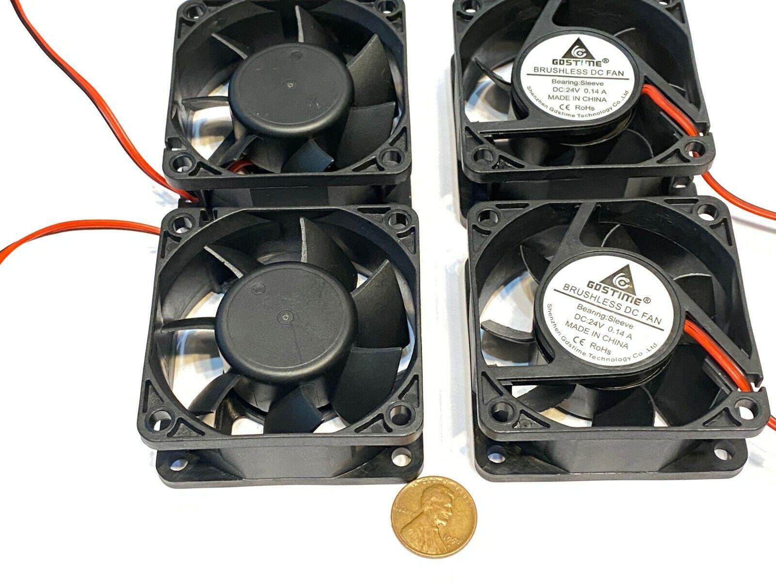 4 pieces 3d Printer 2Pin 6025 DC Fan 24V 6cm 60x60x25mm Motor Cooling C50