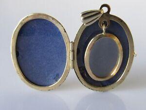 Colgante de oro de 9ct - 9ct Oro Amarillo Con Dibujos Familia Medallón/Colgante Oval