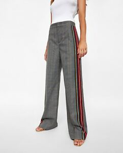 3c9519b8 ZARA GREY CHECKED WIDE LEG LONG TROUSERS WITH SIDE STRIPES SIZE XL ...