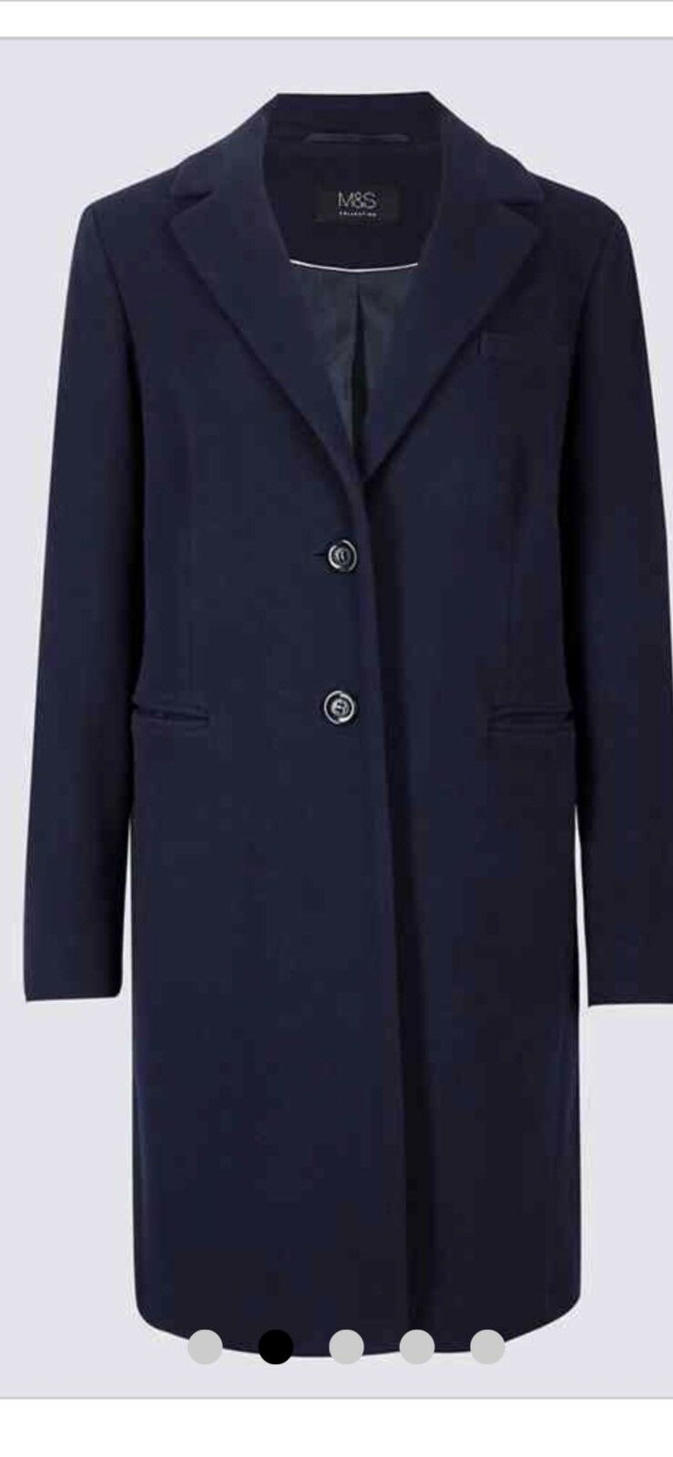 Marks & & & Spencer Mix Di Lana Cappotto Colore Navy Taglia 14 NUOVO con etichette manica lunga SINGOLO BRE 870647