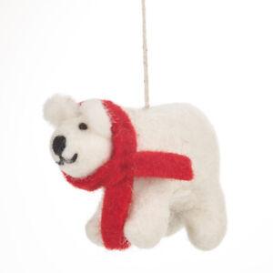 Détails sur Commerce Équitable Feutre OURS Polaire dans une écharpe Arbre de Noël décoration à motif animaux afficher le titre d'origine