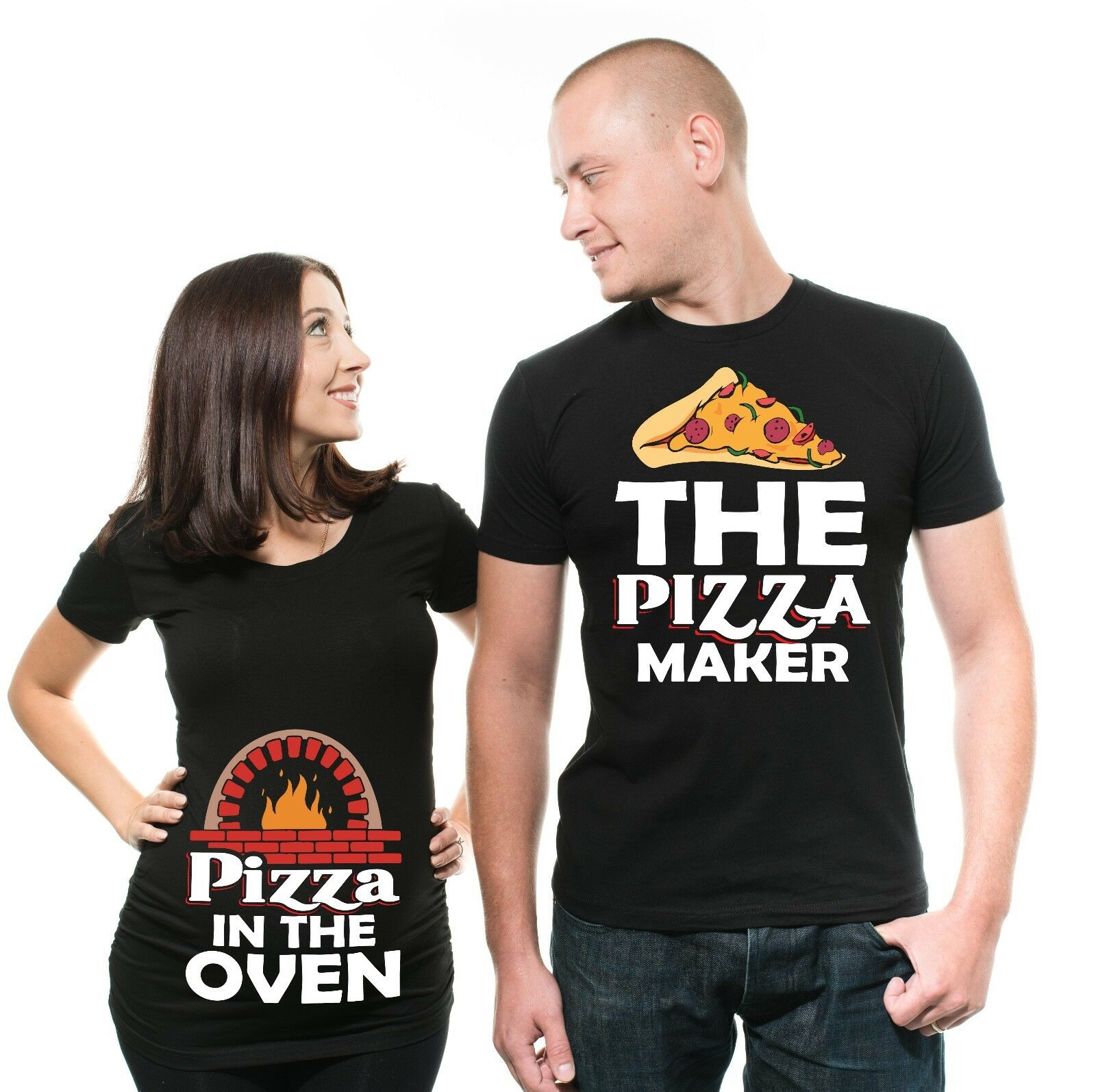 06b573274e Funny Maternity T Shirt Pizza In The Oven Pizza Maker Couple Shirts ...