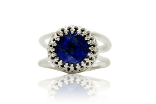 Stunning Lapis Lazuli in 14K Gold Over Silver Band Blue Ring for Any Occasion
