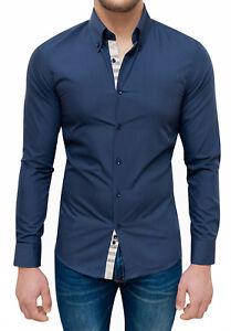 Mat Sartoriale Camicia di Jeans Uomo Denim Chiaro Slim Fit