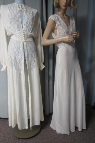 40's Vtg Jean Harlow Sexy Bias Cut Wedding Peignoi