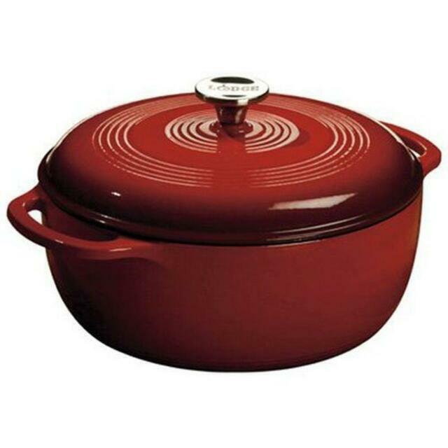 Lodge Color EC6D43 6-qt. Enameled Cast Iron Dutch Oven - Red