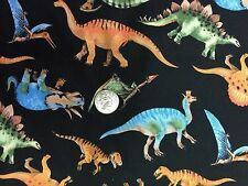 Colorful Dinosaurs Black Dinosaur Dino Novelty Quilt Fabric Fat Quarter FQ FQs