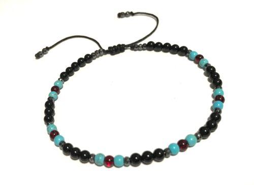 Just Gemstones Onyx Turquoise Garnet Hematite Healing Reiki Anklet Adjustable